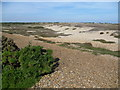 TR0817 : Looking across the shingle at Dungeness from the old railway trackbed by Marathon