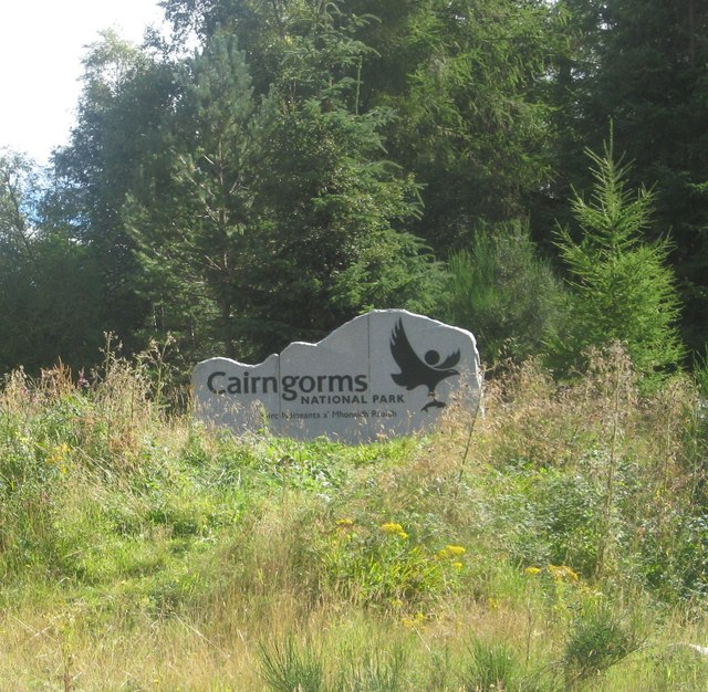 An entry sign to the Cairngorms National Park