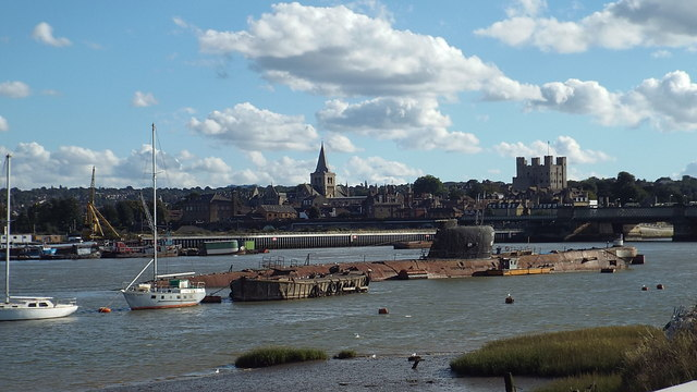Submarine in the Medway, Rochester
