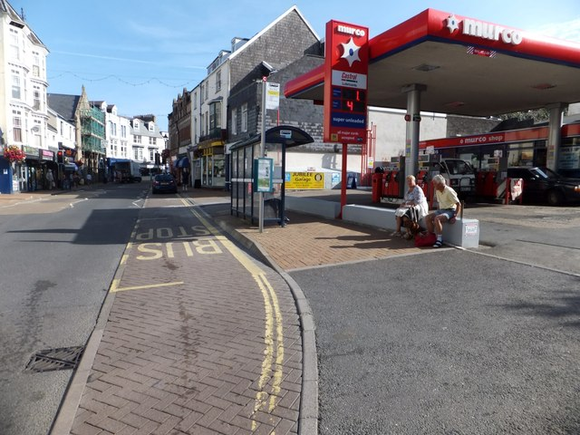 Filling station and bus stop in Ilfracombe High Street