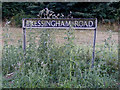 TM0981 : Bressingham Road sign by Adrian Cable