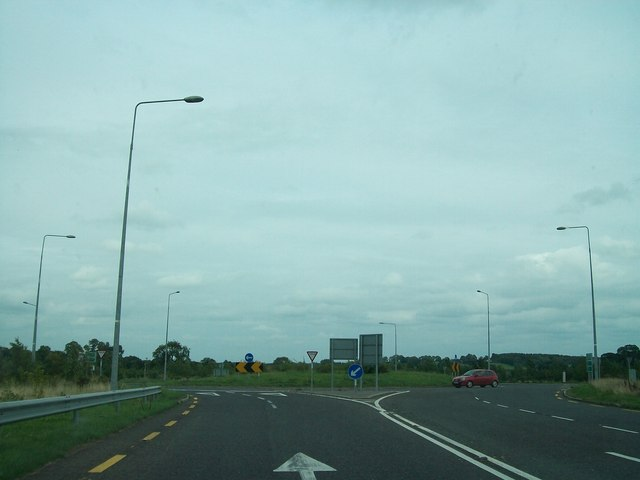 Traffic roundabout on the N52 Kells Bypass south of the Blackwater Bridge