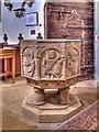 SK9239 : Font, Belton Church by David Dixon