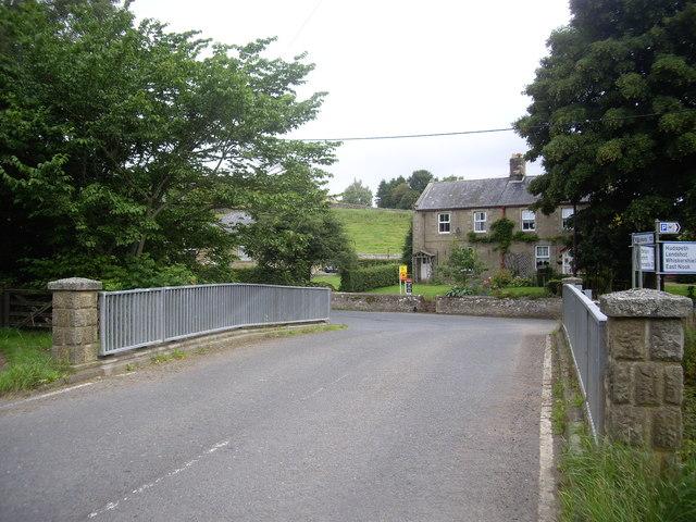 Dogleg bend in the B6341 near Elsdon Bridge