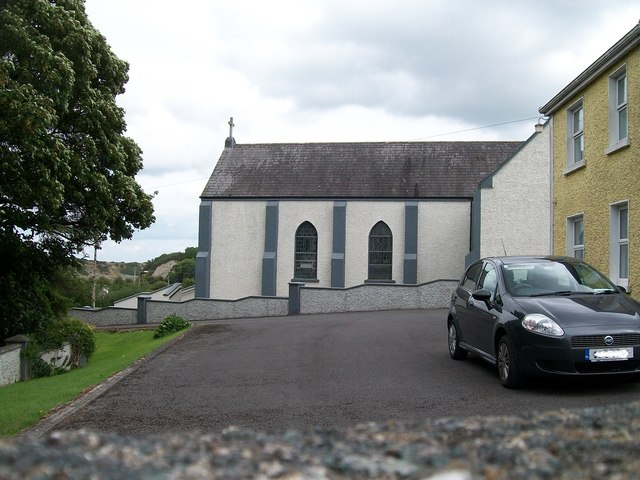 """Clonfinlough Chapel from the """"Carved Stone"""" path"""