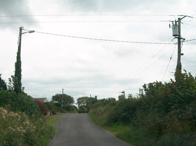Power lines and cylindrical transformer at Clonfinlough