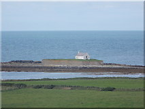 SH3368 : Aberffraw: a distant view of St Cwyfan's church by Chris Downer