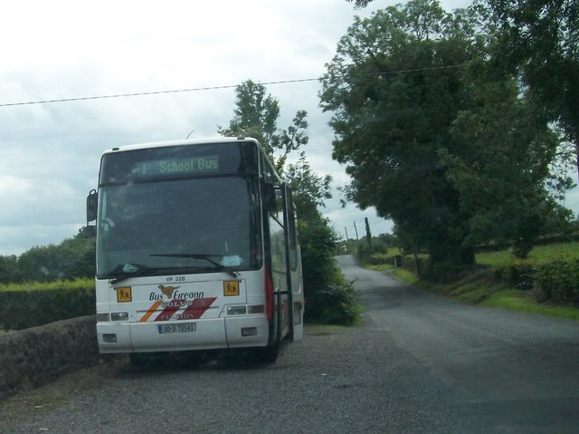 A Bus Eireann School Bus in a lay-by on the Belmont Road