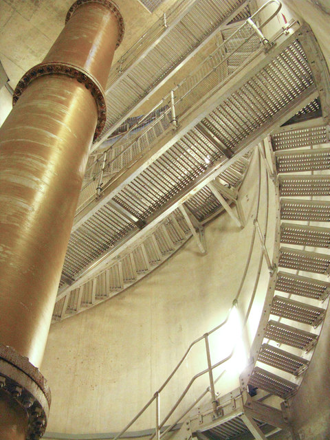 Looking up inside the main tower at Roadford  Dam