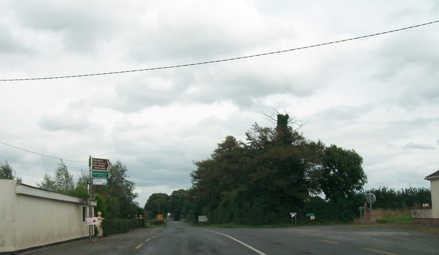 The R357 at the junction of L70090 road to Lough Boora Parklands