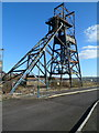 ST1395 : Winding tower in the former Penallta Colliery, Hengoed by Jaggery