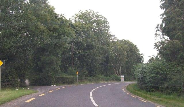 """Severe Bend"" on the N52 at Killua, east of Clonmellon"