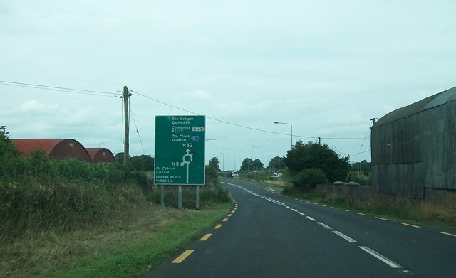 Farm sheds at the approach to the junction of the N52, the N3 and the M3 south of Kells