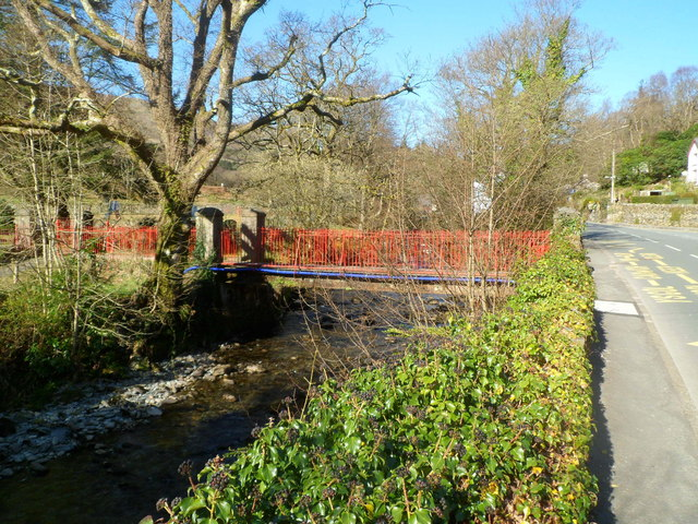 River footbridge to a primary school, Beddgelert