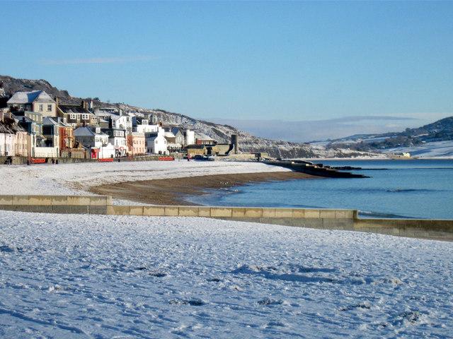 Lyme Regis main beach in winter