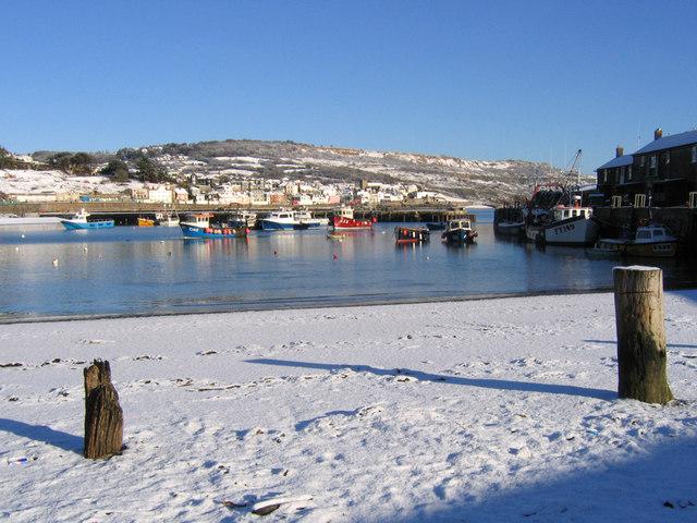 Lyme Regis Harbour in winter