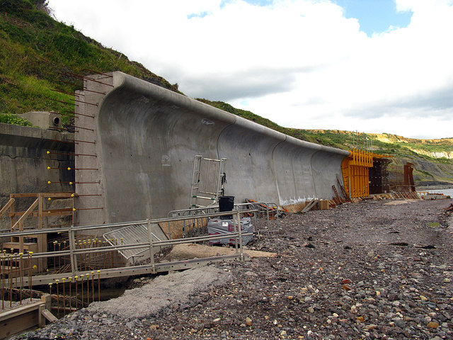 The new sea wall at Lyme Regis