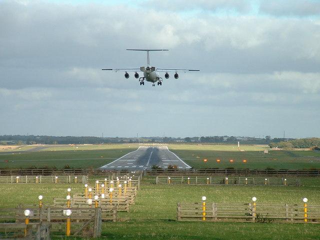 Aeroplane landing at Newcastle Airport