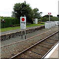 SO1367 : Stop sign at Dolau railway station by Jaggery
