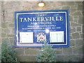 NT9928 : Notice on the Tankerville Arms Hotel wall by Stanley Howe