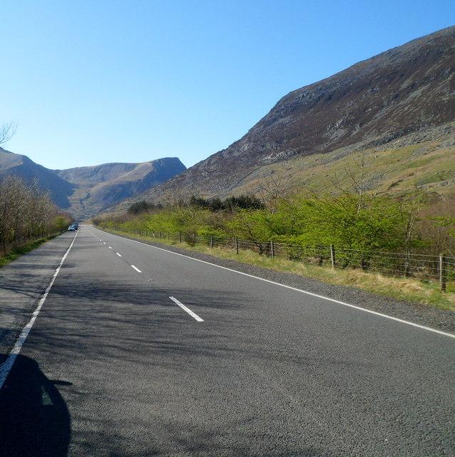 A5 heads west towards Llyn Ogwen in Snowdonia