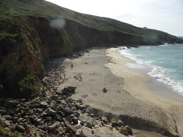 The beach at Portheras Cove