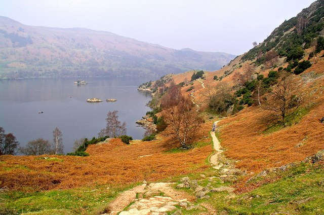 Footpath below Silver Crag by Lingy Holm rocks Ullswater