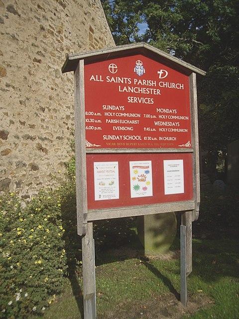 All Saints Parish Church notice board