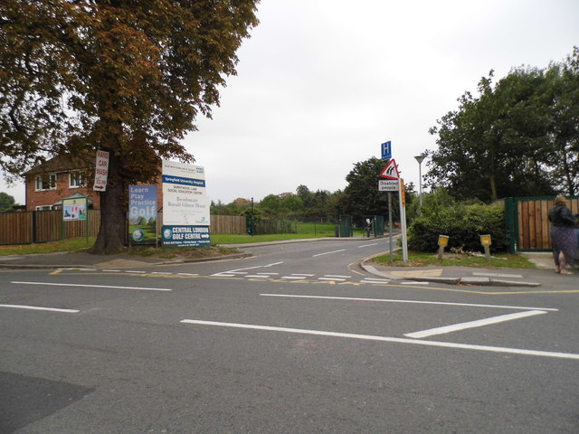 The entrance to Central London Golf Centre and Springfield University Hospital