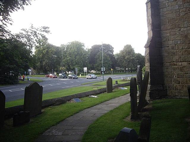 Village Green and road junction in Lanchester