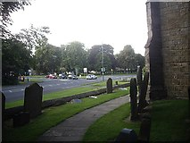 NZ1647 : Village Green and road junction in Lanchester by Stanley Howe