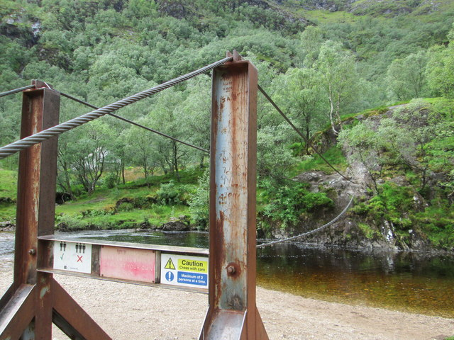 Side-on view of the Steall footbridge