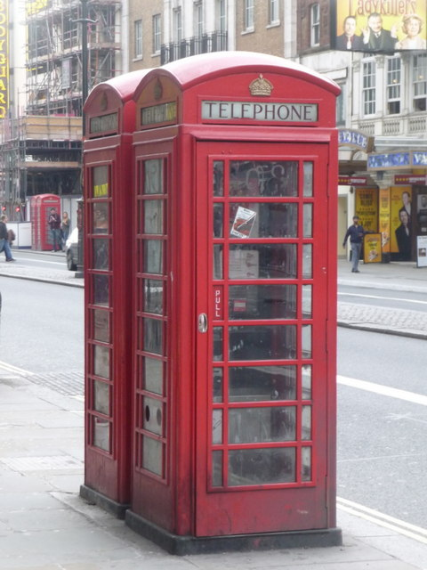 London: red phone boxes, 84 Strand