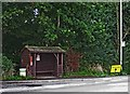 SO7695 : Bus shelter and stop on the A454 road, near Wyken, Shrops by P L Chadwick
