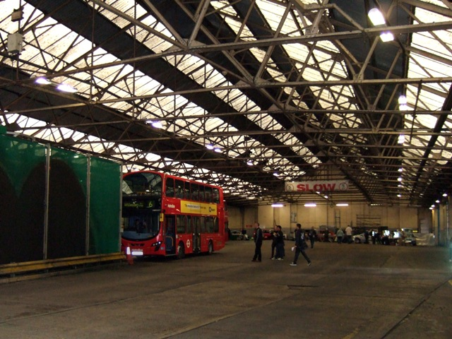Interior shot of Willesden bus garage