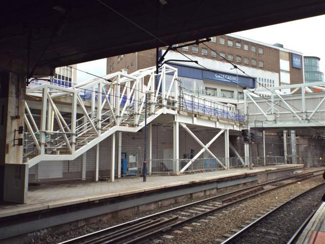 New stairs under construction, platform 12, New Street station