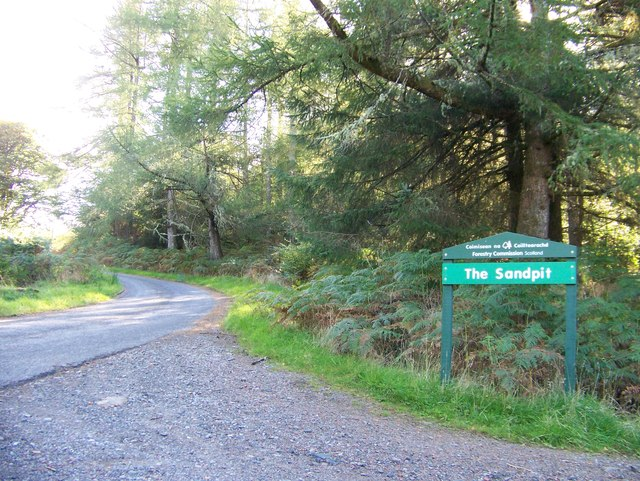 Entrance to the cycle trail parking in Barcaldine Forest