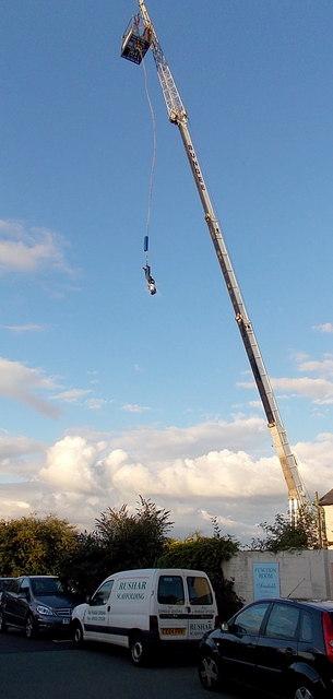 Bungee jumper hurtles groundward  at the Three Horseshoes, Malpas, Newport