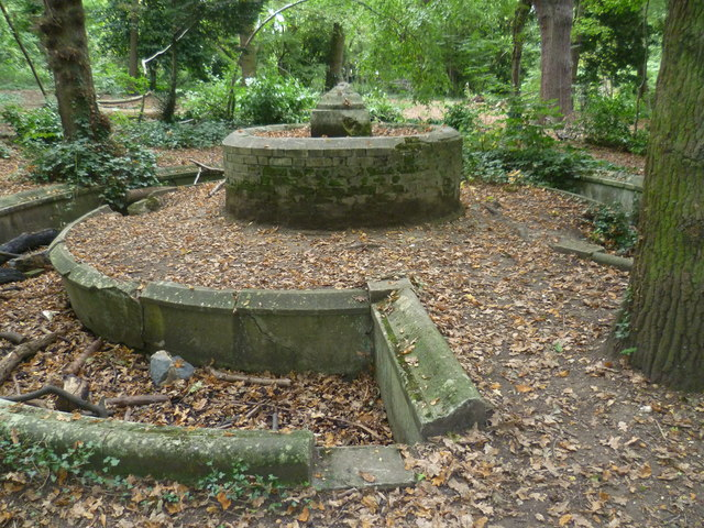 The remains of the fountain in South Hill Wood