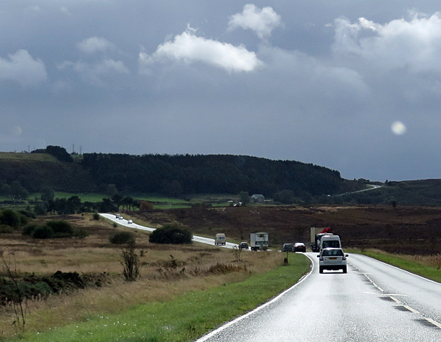 Traffic on a moorland road