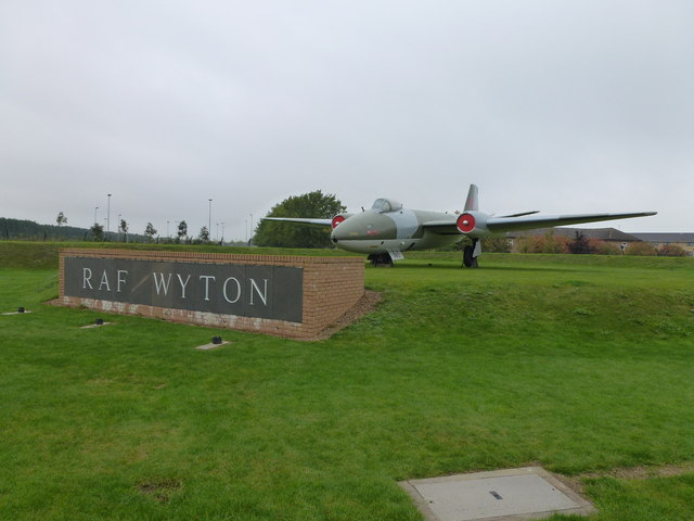 Canberra at the entrance of RAF Wyton