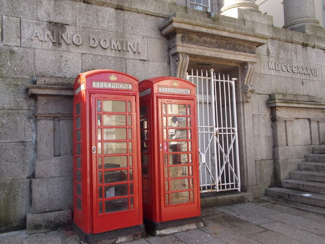Penzance: phone boxes in Market Jew    © Chris Downer :: Geograph