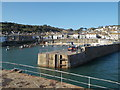 SW4726 : Mousehole: across the harbour entrance by Chris Downer