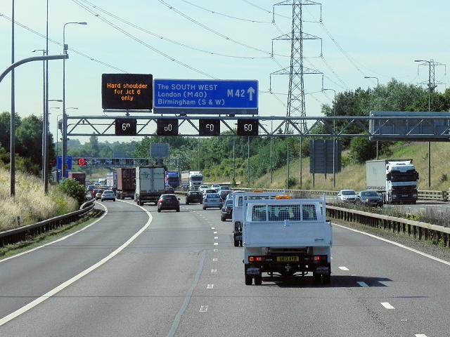 Signal Gantry, Southbound M42 Approaching Junction 6