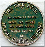 SJ6511 : Green plaque on the Cock Hotel, Wellington by Jaggery
