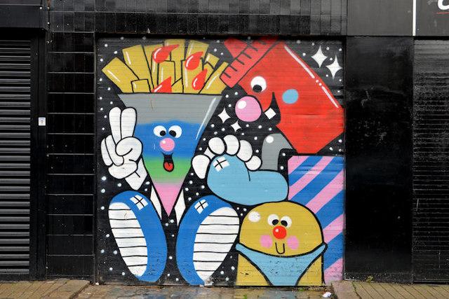 Decorated shutter, North Street, Belfast (1)