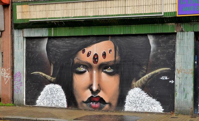 Decorated shutter, North Street, Belfast (2)