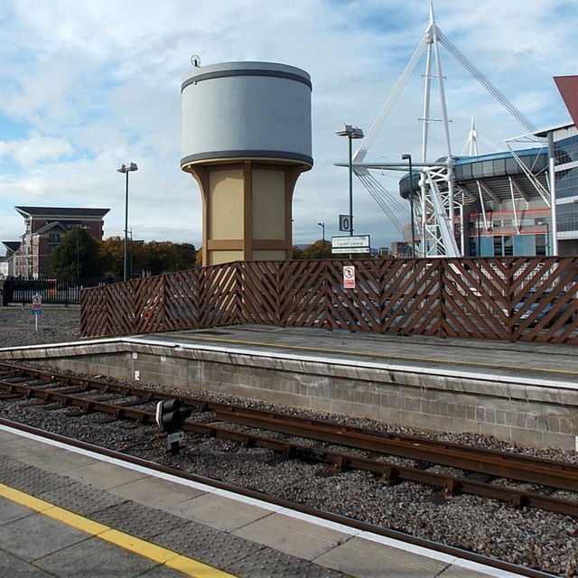 Recently repainted  former water tower, Cardiff Central railway station