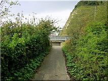 TR3341 : Saxon Shore Way descending towards the A2 by Chris Heaton