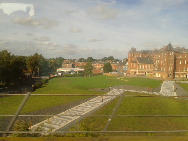 University of Worcester city campus seen from the train